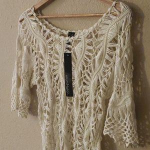 NWT! Beautiful Open Crochet Cream Top